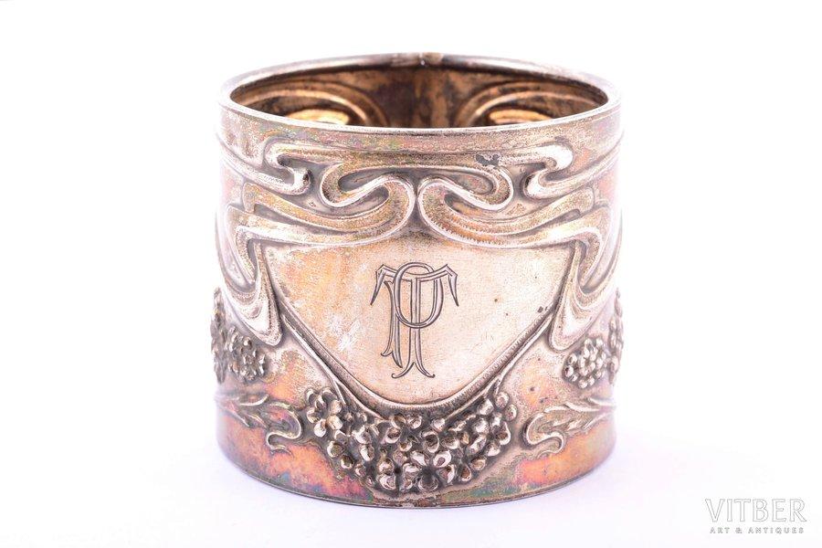 serviette holder, silver, 800 standart, Art-Nouveau, 24.10 g, h 4.6 cm, Ø 5.3 cm, defect on the edge