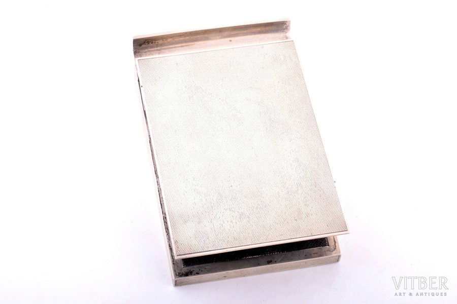 notebook and pen holder, silver, 925 standart, total weight 525.65g, London, Great Britain, 14.4 x 9.4 x 3.5 cm