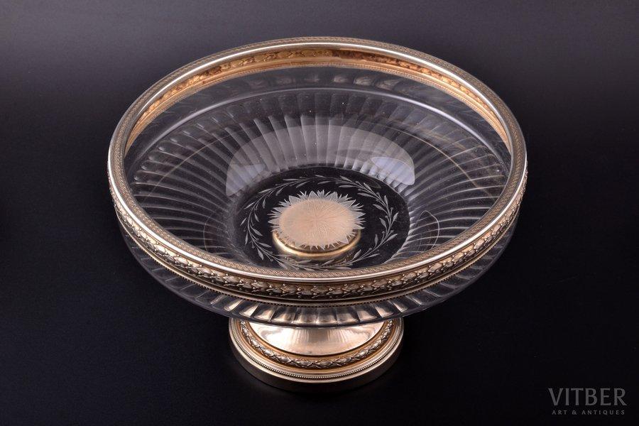 augļu trauks, sudrabs, 950 prove, stikls, Francija, Ø 23.1 cm, h 13.8 cm