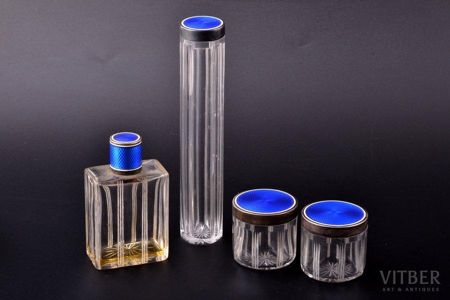 parfimērijas komplekts, sudrabs, 950 prove, stikls, 4 priekšmeti, emalja, vāciņu kopējais svars 69.75g, Francija, 15.9 / 8.8 / 4.4 / 4.4 cm