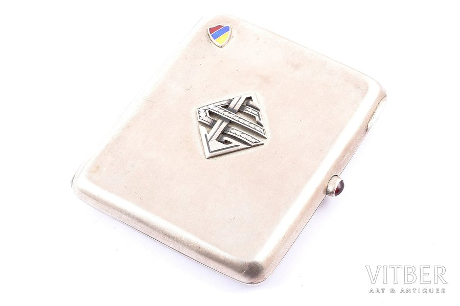 "cigarette case, silver, 875 standart, ""Latvia"" corporation, the 20-30ties of 20th cent., 104.05 g, Latvia, 8.9 x 7.8 x 1.2 cm"