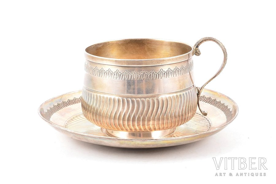 tea pair, silver, 950 standart, 1882-1901, 244.10 g, Henri Gabert, Paris, France, Ø (saucer) 15.1  cm, h (cup with handle) 7.5 cm
