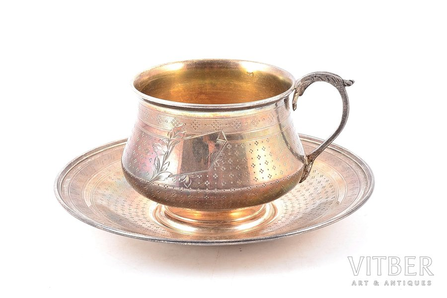 чайная пара, серебро, 950 проба, 1882-1901 г., 215.80 г, Henri Gabert, Париж, Франция, Ø (блюдце) 14.9 см, h (чашка с ручкой) 6.9 см