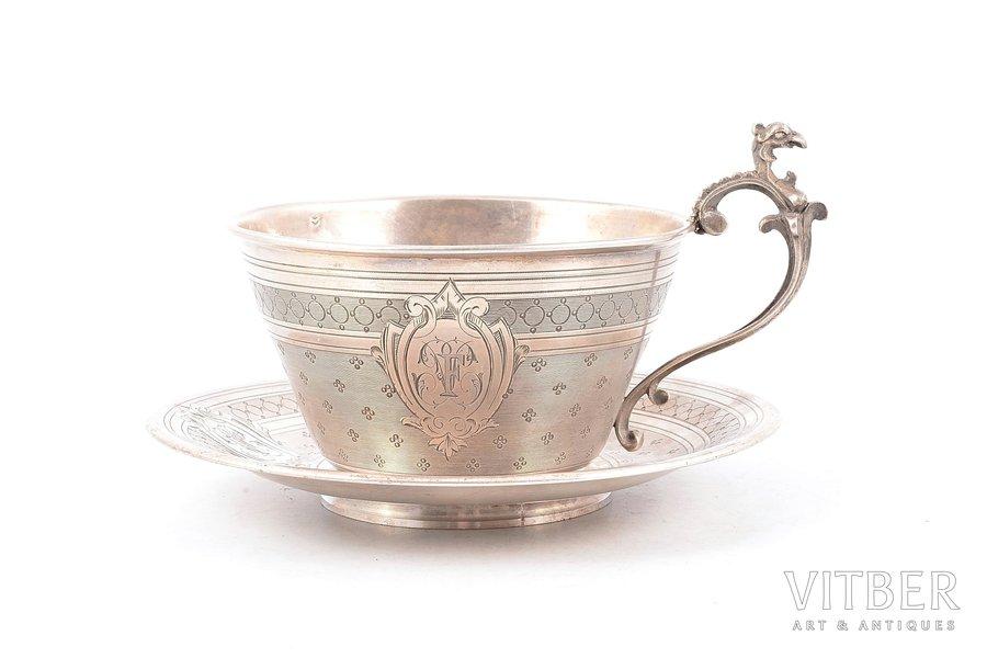 tējas pāris, sudrabs, 950 prove, 1901-1905 g., 192.40 g, Paillard Freres, Parīze, Francija, Ø (apakštasīte) 14.8 cm, h (tasīte ar rokturi) 8.8 cm