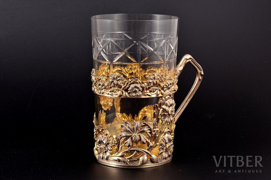 tea glass-holder, silver, 800 standart, with glass, gilding, the beginning of the 20th cent., silver weight 63.25g, Lutz & Weiss, Germany, h (with handle) 8.4 cm, Ø (inside)  6.7 cm, glass is not original