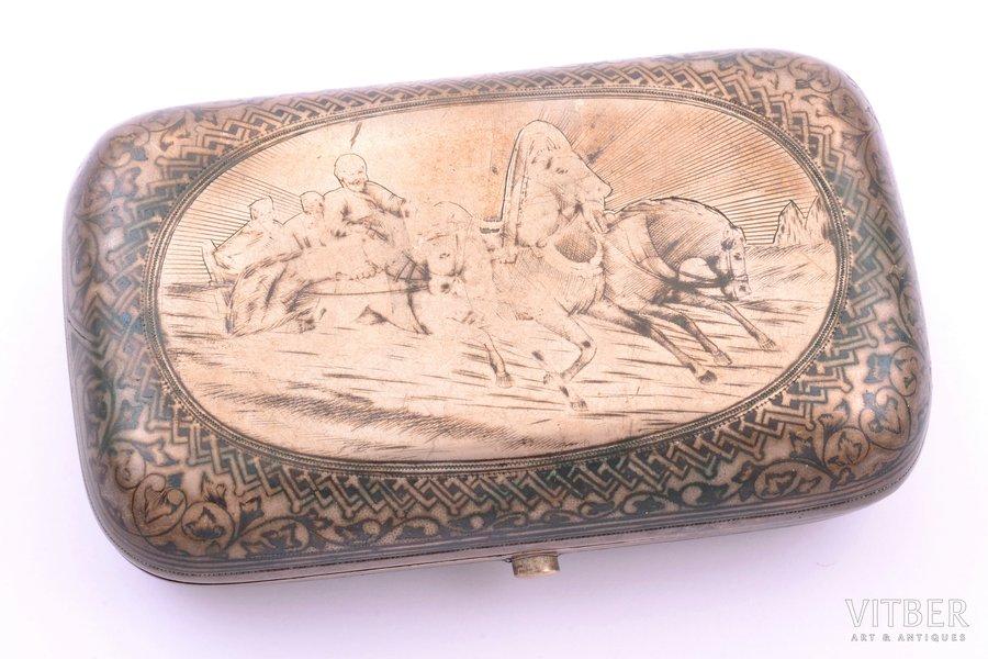 "snuff-box, silver, 84 standart, ""Troika"", niello enamel, 1879, 153.15 g, Alexander Muhin's factory, Moscow, Russia, 11 x 6.6 x 2.9 cm"