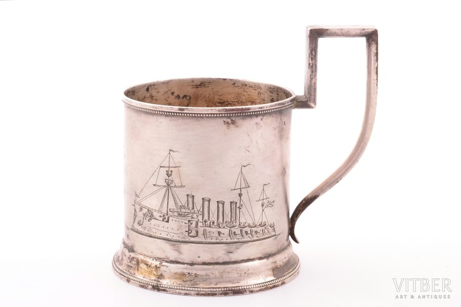 "tea glass-holder, silver, 84 standart, cruiser ""Gromoboi"", engraving, 1908-1917, 117.20 g, ""Grachev Brothers"", St. Petersburg, Russia, h (with handle) 10.4 cm, Ø (inside) 6.8 cm"