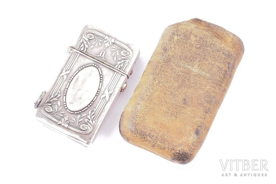 lighter, silver, 84 ПТ, 900 standart, metal, 1908-1917, total weight of item 57.90g, 5.8 x 3.7 x 1.1 cm, Transcaucasian region import mark, with leather cover, with soldering