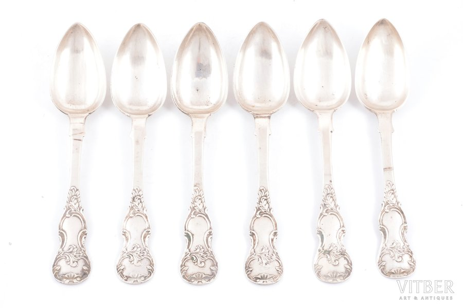 set of tablespoons, silver, 84 standart, 6 pcs, 1867, 423.55 g, Riga, Russia, 22 cm
