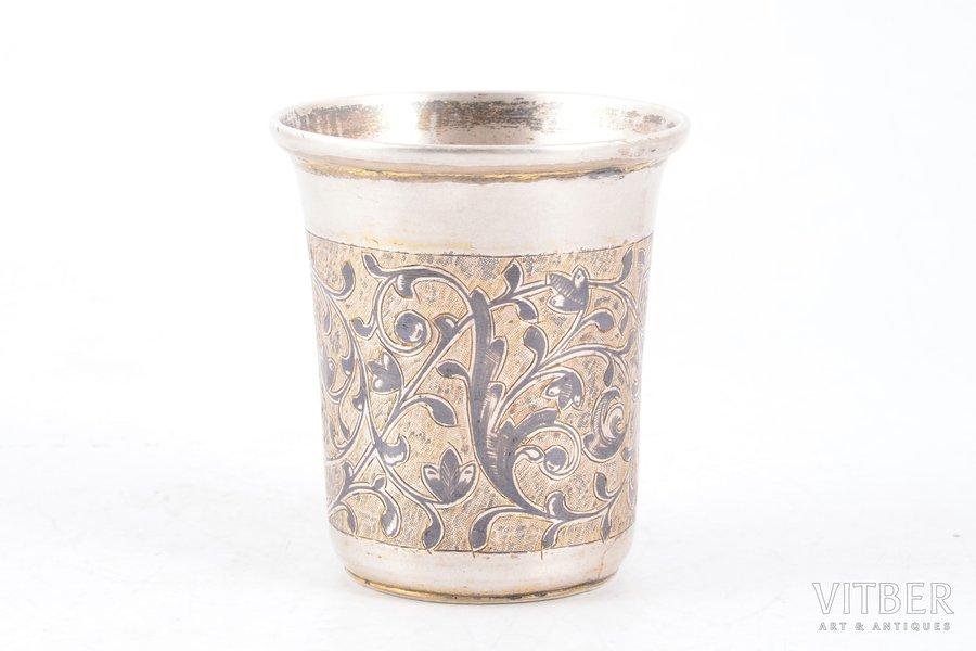 стакан, серебро, 84 проба, чернение, 1852 г., 58.50 г, Москва, Российская империя, 6.1 см