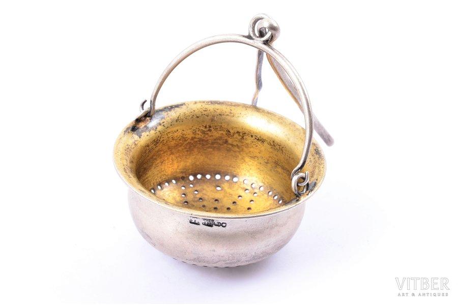 ситечко для чая, серебро, 84 проба, 1896 г., 59.00 г, Минск, Российская империя, Ø 5.6 см