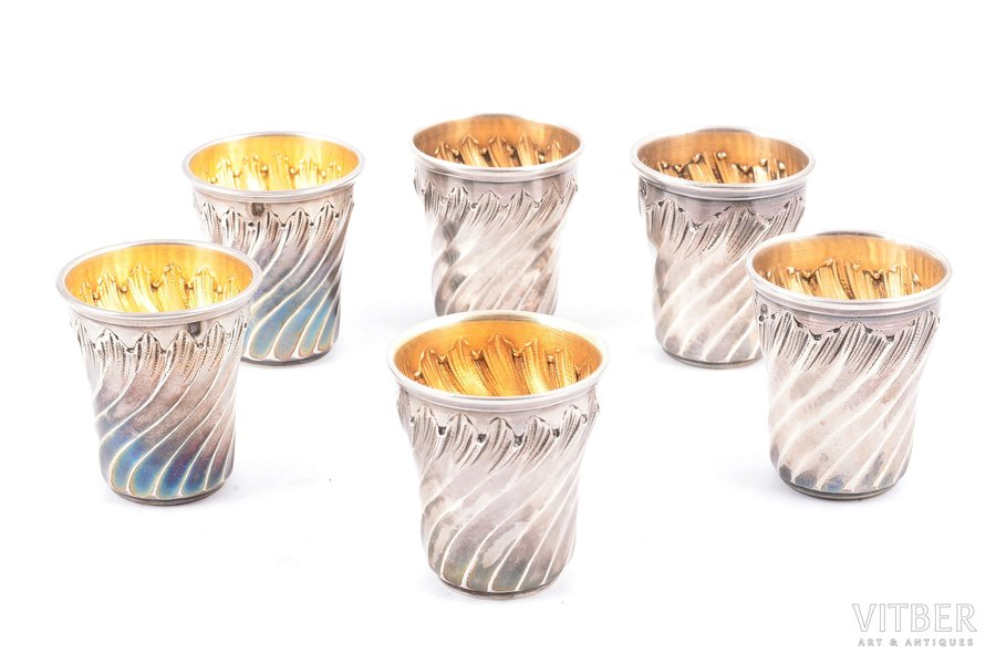 set of 6 beakers, silver, 950 standart, gilding, the end of the 19th century, 83.90 g, France, h 4.1 cm, items made by 3 different craftsman