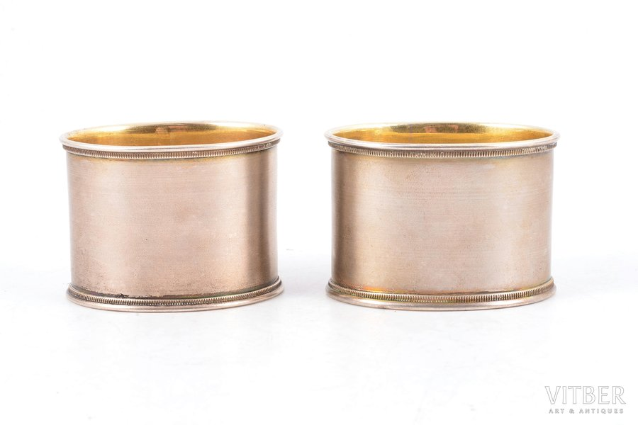pair of serviette holders, silver, 84 standart, 1908-1917, 92 g, by Pyotr Evstratovich Abrosimov, Moscow, Russia, 4.2 cm