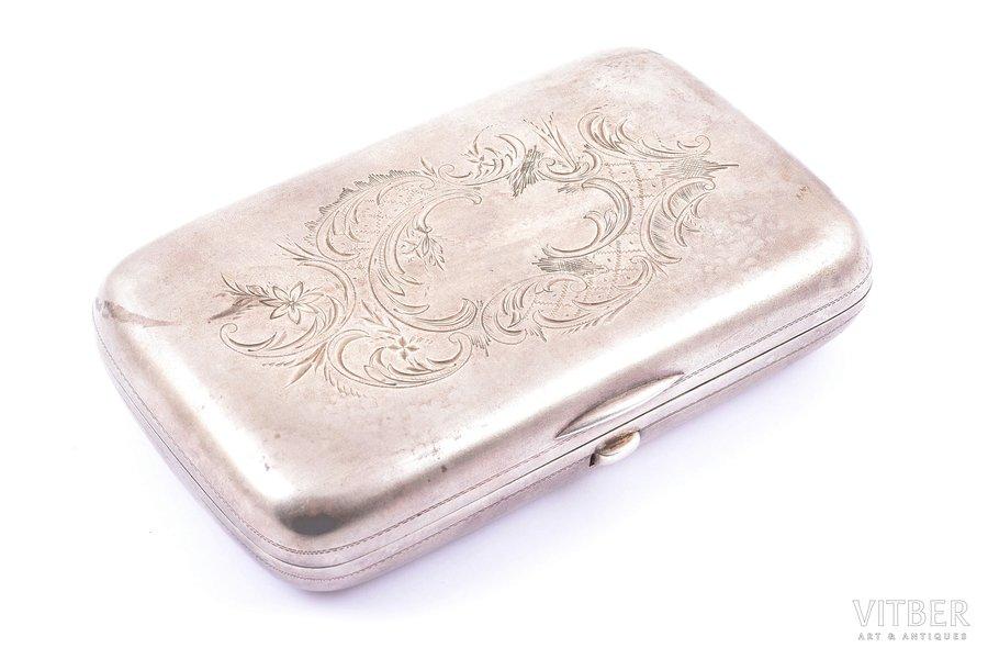 cigarette case, silver, 84 standart, engraving, 1899-1903, 195.35 g, craftsman unknown, Riga, Russia, 12.1 x 7.7 x 2.8 cm