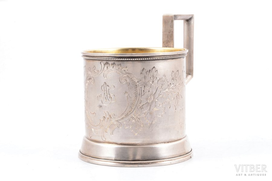 tea glass-holder, silver, 84 standart, 105.10 g, Ivan Khlebnikov factory, Moscow, Russia, h (with handle) - 9.3, Ø (internal) - 6.6 cm