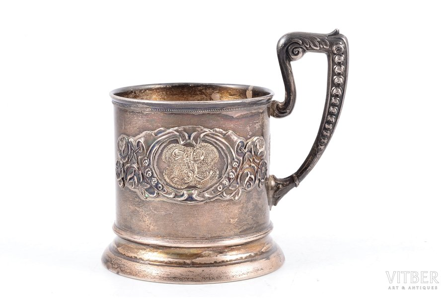 tea glass-holder, silver, 875 standart, the 20-30ties of 20th cent., 107.05 g, Latvia, h (with handle) - 9.8, Ø (internal) - 6.4 cm