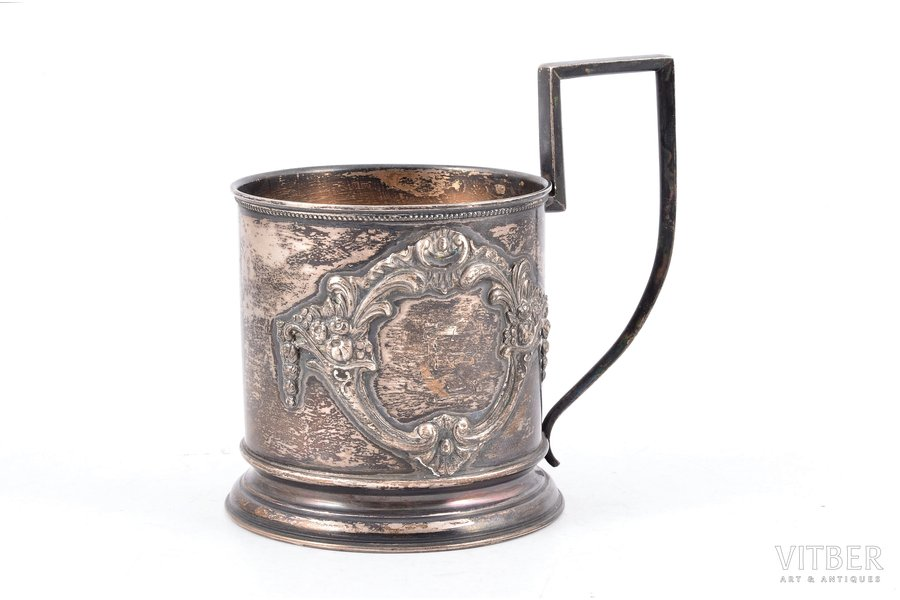 tea glass-holder, silver, 875 standart, the 20-30ties of 20th cent., 102.85 g, Riga, Latvia, h (with handle) - 9.7 Ø (internal) - 6.2 cm