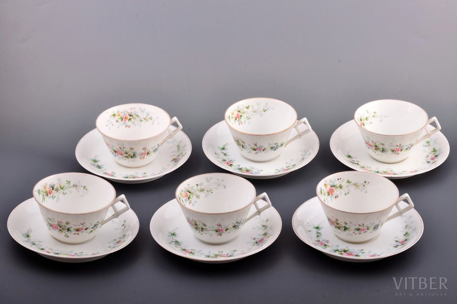 tea pair, set, 6 tea pairs, porcelain, Gardner manufactory, Russia, 1870-1899, h (cup, with handle) 5.2 cm, Ø (plate) 14.7 cm, micro chip on one plate, hairline cracks on two plates