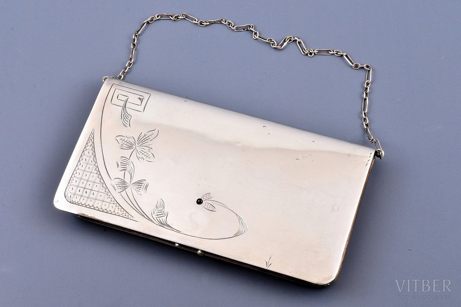 purse, silver, 84 standart, leather, engraving, 1908-1917, 200.70 g, (item total weight)g, Odessa, Russia, 15.2 x 8.4 x 2.1 cm