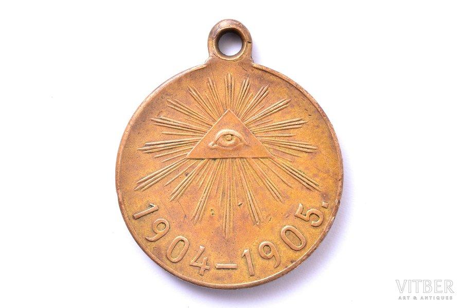 медаль, в память русско-японской войны 1904-1905 гг., бронза, Российская Империя, начало 20-го века, 33.6 x 28.1 мм
