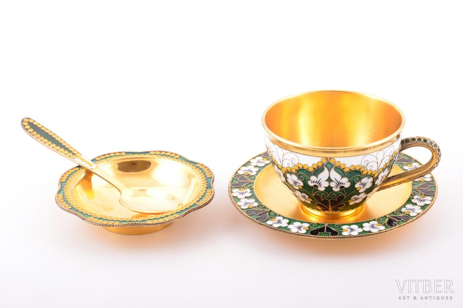 set, silver, 916 standart, coffee pair with spoon and jam dish, cloisonne enamel, gilding, 1975-1976, 284.95 g, The Leningrad Industrial Association of Russian Gems, Leningrad, USSR, h (cup) 5.1 cm, Ø (saucer) 10.8 cm, 11.8 cm (spoon), Ø (jam dish) 8.5 cm