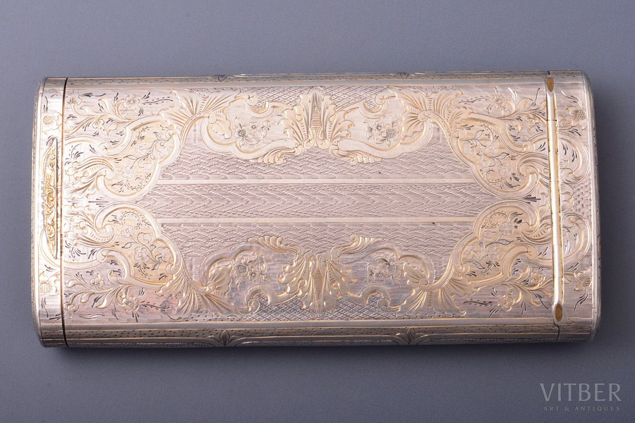 cigarette case, silver, 84 standart, inventory number 41214, engraving, gilding, 1847, 174.15 g, Moscow, Russia, 13 x 6.8 x 2.1 cm