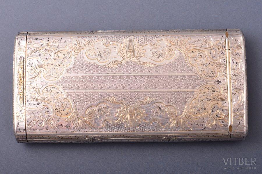 портсигар, серебро, 84 проба, инвентарный номер 41214, штихельная резьба, золочение, 1847 г., 174.15 г, Москва, Российская империя, 13 x 6.8 x 2.1 см