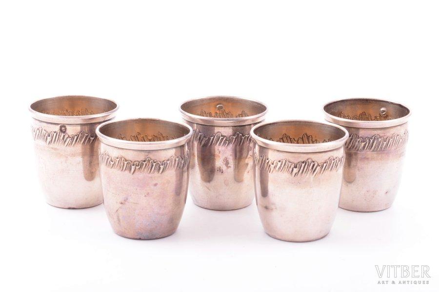 set of 5 beakers, silver, 950 standart, 48.40 g, France, h 4 cm
