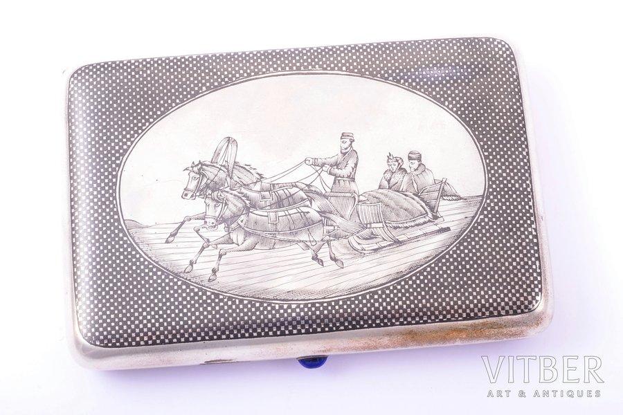 """cigarette case, silver, 84 standart, """"Troika"""", niello enamel, 1896-1907, 169.90 g, Russia, 10.9 x 7.4 x 1.9 cm"""
