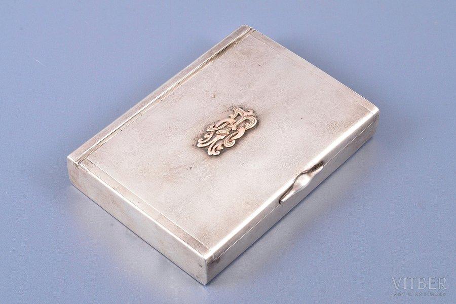 etvija, sudrabs, 84 prove, ar zelta uzliku, apzeltījums, 1908-1917 g., 244.40 g, Maskava, Krievijas impērija, 10.8 x 8.1 x 1.9 cm