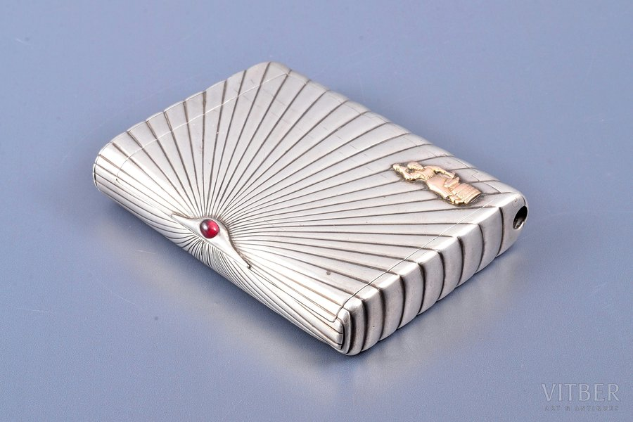 cigarette case, silver, 84 standart, with golden overlay, 1899-1908, 220.35 g, St. Petersburg, Russia, 10.2 x 7.9 x 2.1 cm