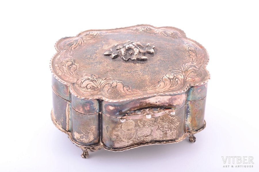 jewelry case, silver, 925 standart, 227.55 g, Europe, 6.7 x 10.6 x 9.4 cm