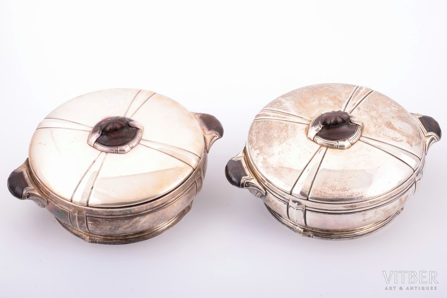 pair of tureens, Art Deco, silver, 950 standart, wood, 2539.7 g  (1277.4 + 1262.3) g, France, 26.2 x 20.5 cm, h 11 cm