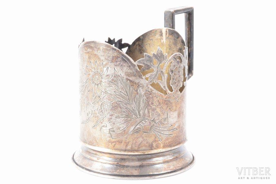 glāzes turētājs, sudrabs, 875 prove, māksliniecisks gravējums, 1954-1958 g., 102.35 g, Maskava, PSRS, h (ar rokturi) - 9.4, Ø (iekšējais) - 6.5 cm