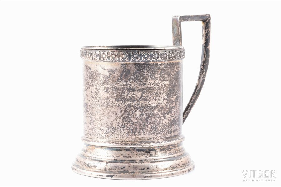 tea glass-holder, silver, 875 standart, To the best shooter of 1-st. department, 1936., merchants of Tukums, engraving, the 20-30ties of 20th cent., 109.50 g, Latvia, Ø (inside) - 6.2 cm, h (with handle) - 10 cm