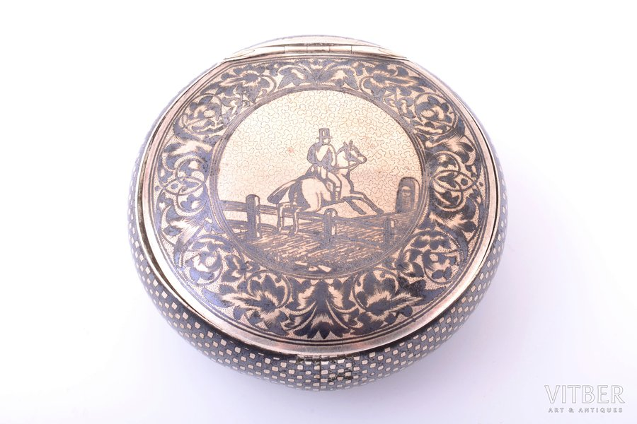 "case, silver, 900 standart, ""Horseman"", niello enamel, 81.35 g, Vienna, Austro-Hungary, Ø 7.1 cm"
