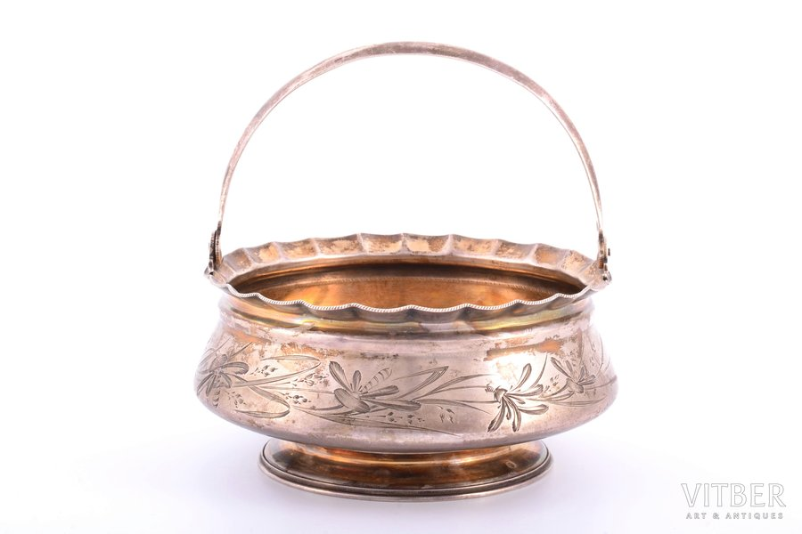 sugar-bowl, silver, 84 standart, engraving, 1896-1907, 190.55 g, by Futikin Ivan Ivanovich, Moscow, Russia, Ø 11.9 cm, h (with handle) 11.8 cm