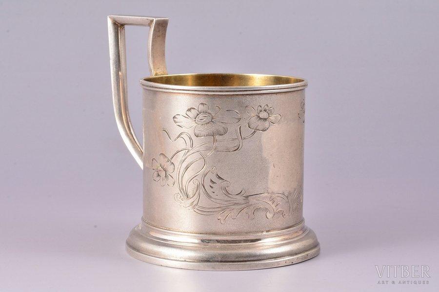 tea glass-holder, silver, 813 H standart, art nouveau, engraving, 1912, 116.65 g, Vyborg (Viipuri), Finland, Ø (inside) - 6.6 cm, h (with handle) - 9.8 cm, removed monogram