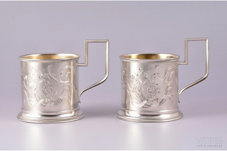 pair of tea glass-holders, silver, 84 standart, engraving, 1899-1908, 227.10 g, by Mikhail Maslov, Moscow, Russia, Ø (inside) 6.8 cm, h (with handle) 9.4 cm