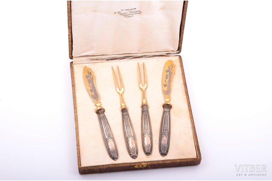 flatware set of 4 items, Art-Nouveau, silver, 950 standart, metal, total weight 160.75 g, France, 20.2 / 19.7 cm, in a box