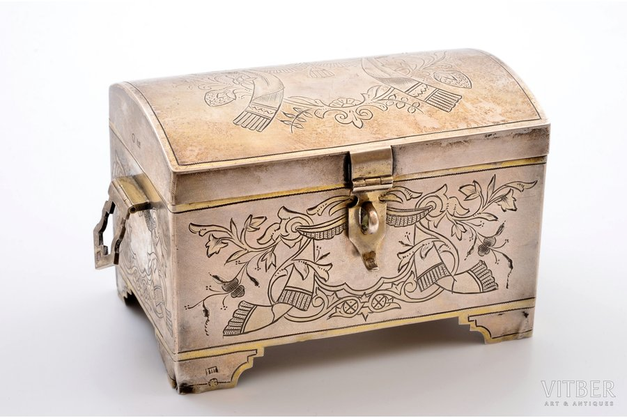 jewelry case, silver, 84 standart, engraving, 1890, 300.95 g, Moscow, Russia, 8.2 x 13.2 x 8.3 cm