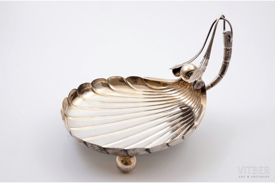 candy-bowl, silver, 84 standart, art nouveau, 1899-1908, 508.50 g, by Grigoriy Sbitnev, Moscow, Russia, 24.4 x 19.5 см, h (с ручкой) 25.5 cm, 21.4 x 19.5 cm, h (with handle) 25.5 cm