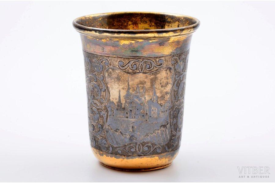 goblet, silver, 84 standart, engraving, niello enamel, gilding, 1857, 133.10 g, Moscow, Russia, h 9.1 cm
