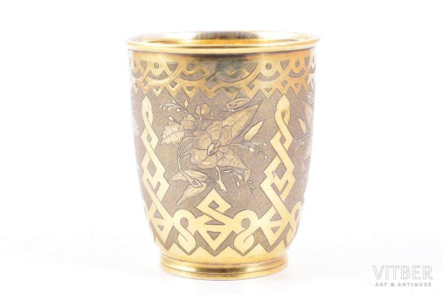 стакан, серебро, 84 проба, штихельная резьба, золочение, 1865 г., 123.50 г, Москва, Российская империя, h 8.9 см