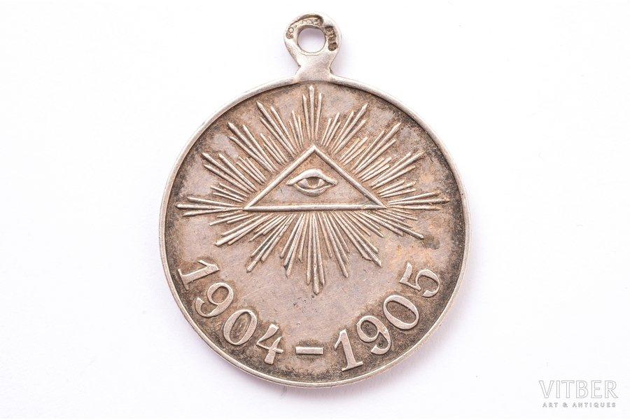 медаль, в память русско-японской войны 1904-1905 гг., серебро, 84 проба, Российская Империя, начало 20-го века, 33.3 x 27.6 мм, 9.75 г