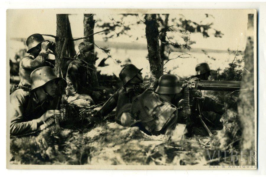 фотография, Латвийская армия, пулемётчики, Латвия, 20-30е годы 20-го века, 13,6x8,6 см