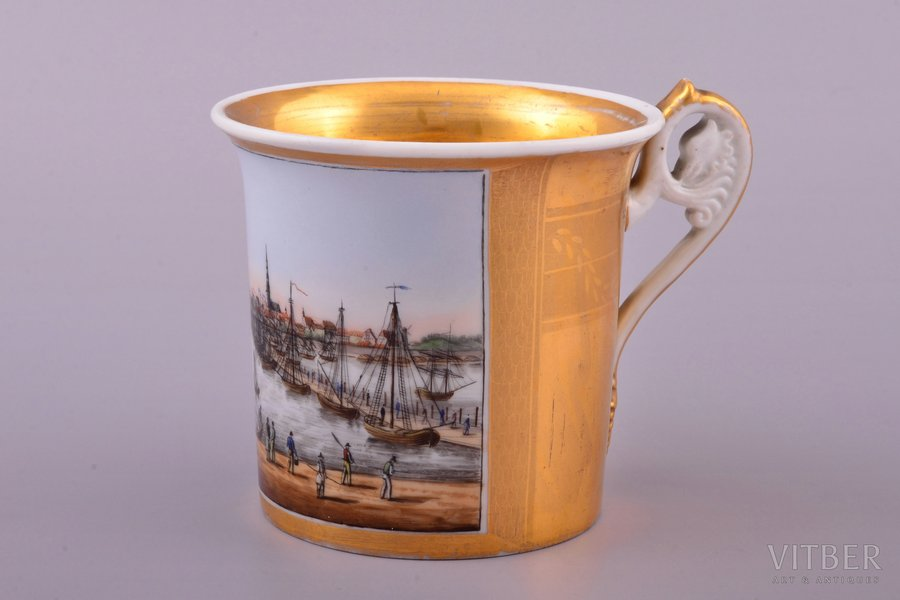 """small cup, """"Port of Riga"""", porcelain, Gardner manufactory, Russia, ~1830, h 9.1 cm"""