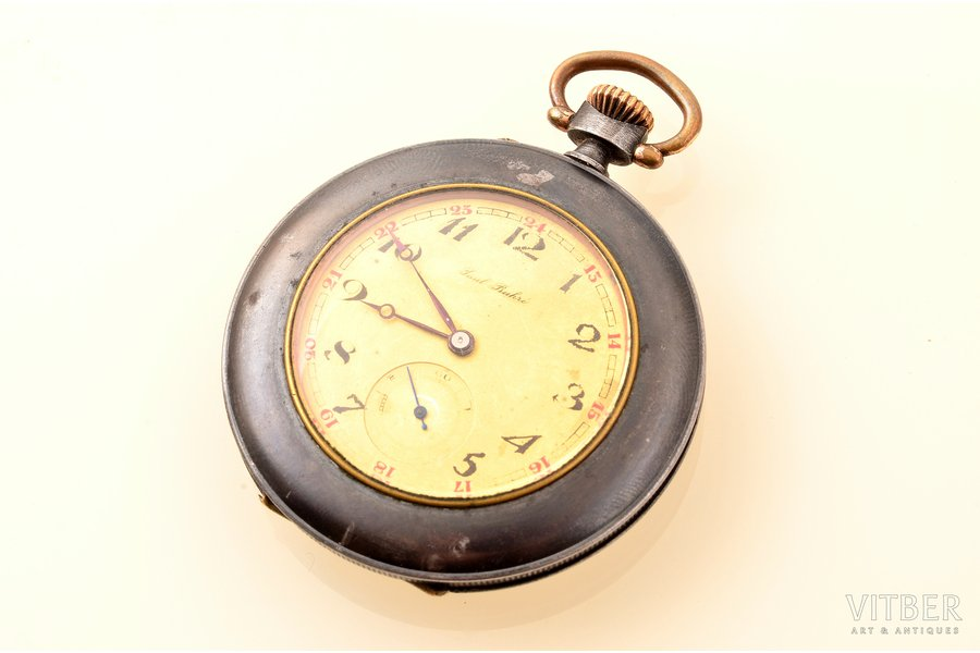 "pocket watch, ""Paul Buhre"", Switzerland, metal, 6.1 x 4.7 cm, 34 mm, in working condition"