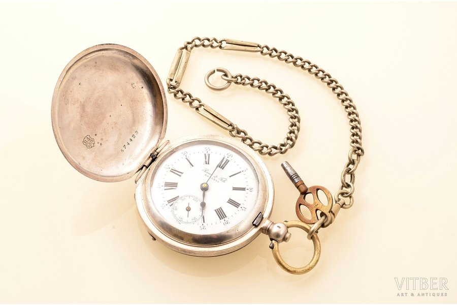 "pocket watch, ""Perret & Fils"", men, with key and chain, Switzerland, silver, metal, 875 standart, (total weight without the key and chain) 11.30 g, 7.1 x 4.9 cm, 39 mm, chain made from alpaca, chain length - 27.1 cm, in working condition"