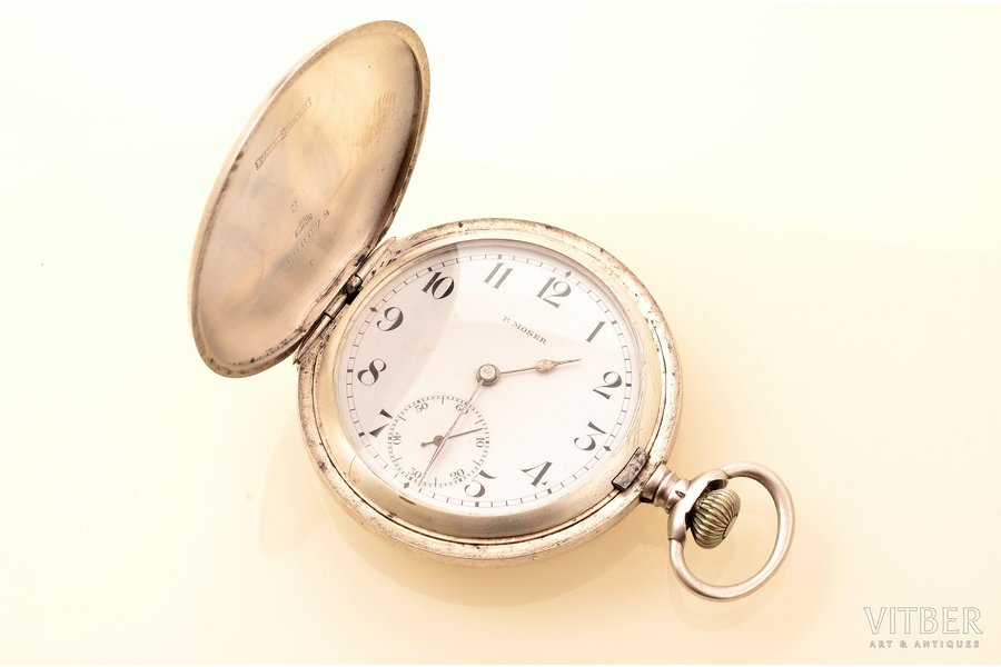 """pocket watch, """"Moser"""", men, Switzerland, silver, 875 standart, 89.10 g, 7.2 x 5.2 cm, 42 mm, in working condition"""